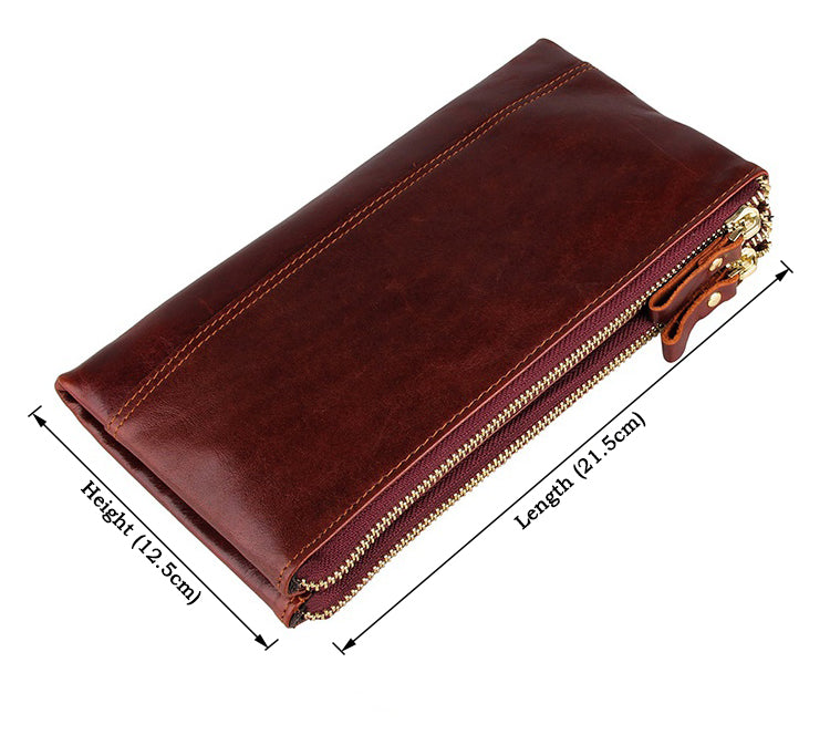 Genuine Leather Clutch Organizer Wallet - Russet
