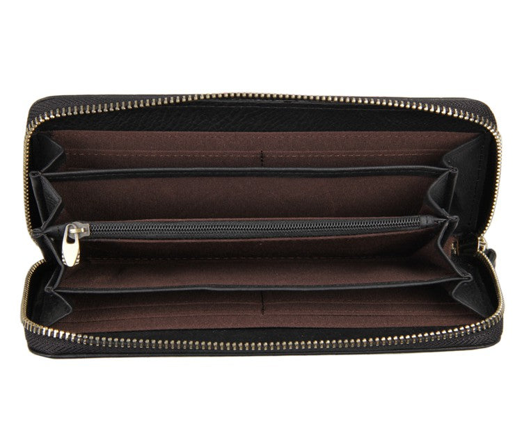 'Jane' Black Woven Leather Clutch