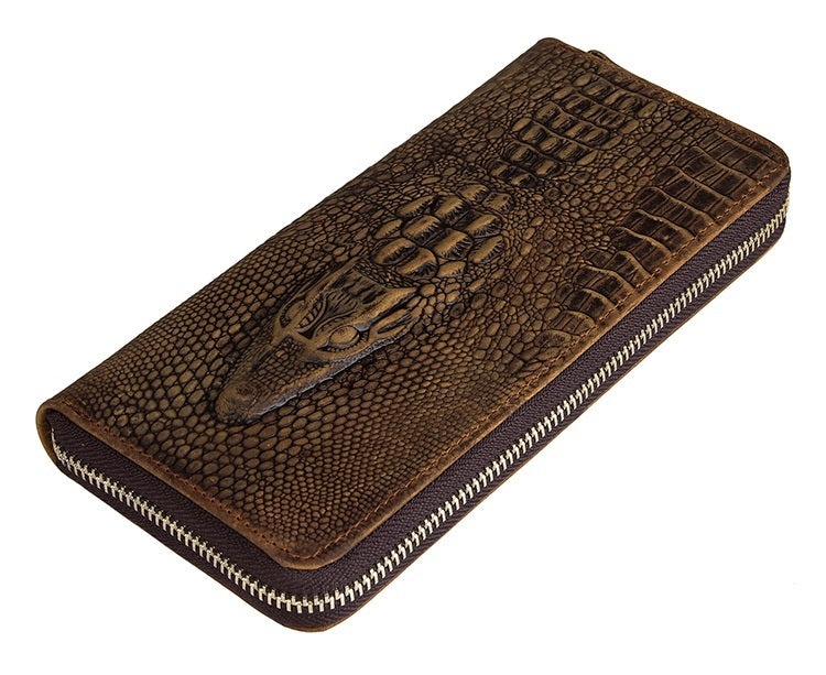 xclusive Handmade Alligator Embossed Leather Bi-Fold Long Zippered Wallet USL8067R