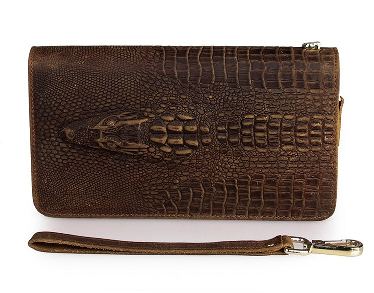 Exclusive Alligator Embossed Leather Handy Wrist Bag  USL8070R-1