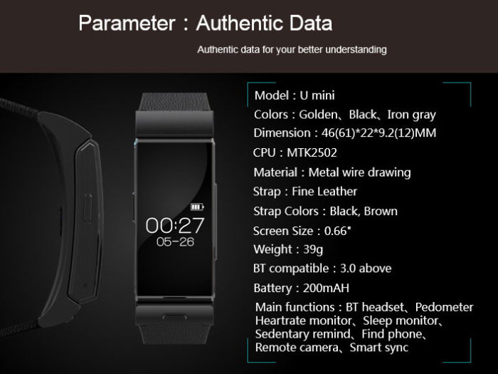 U Watch U20 Mini Smart Watch with Heart Rate and Bluetooth Headphone