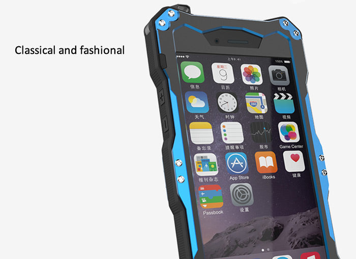 R-JUST Waterproof Full Protective Case for iPhone 6/6S Black