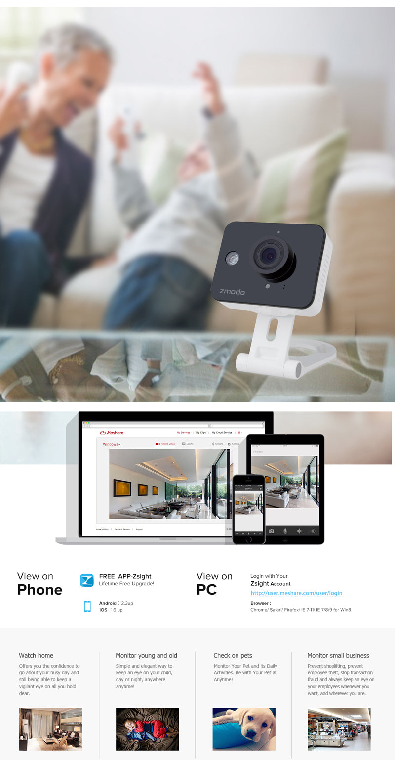 Zmodo ZM-SH75D001 720p HD Mini WiFi Camera with Two-way Audio and Remote Monitoring