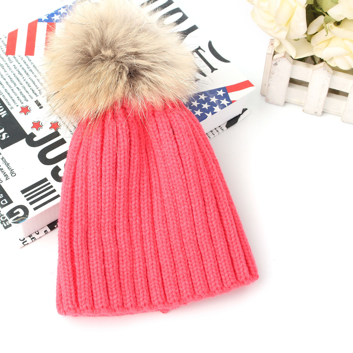 Kids Beanie Warm Knitted Hat with Raccoon Fur Pom Pom