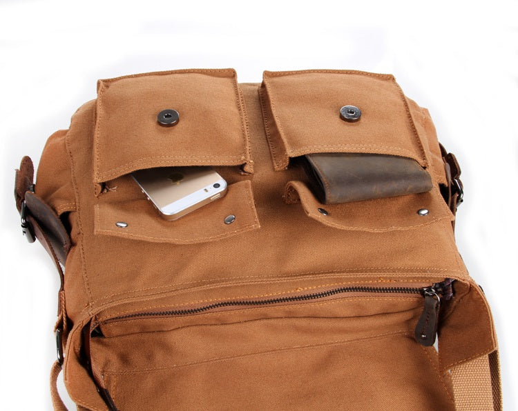 'Gobi' Classic Leather and Canvas Messenger Bag