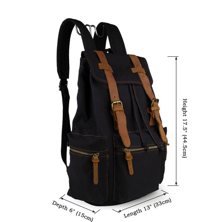 'Venice' Classic Genuine Leather Canvas Backpack