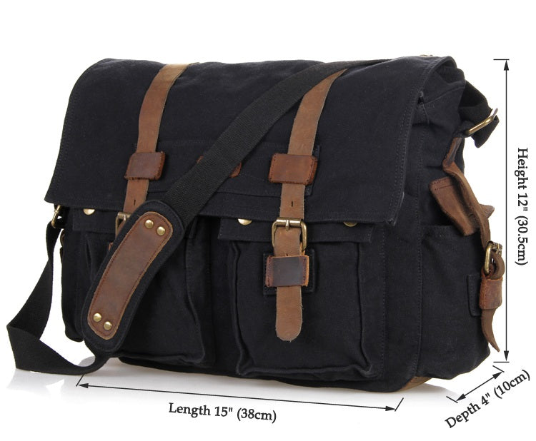 'Syracuse' Classic Leather and Canvas Messenger Bag