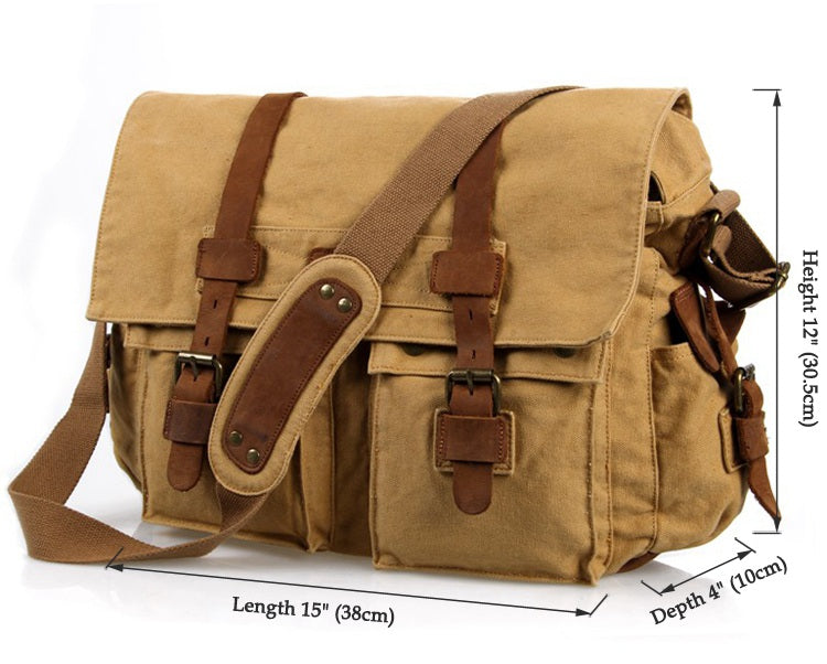 'Sahara' Classic Leather and Canvas Messenger Bag