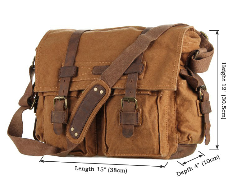 'Florence' Classic Leather and  Canvas Messenger Bag