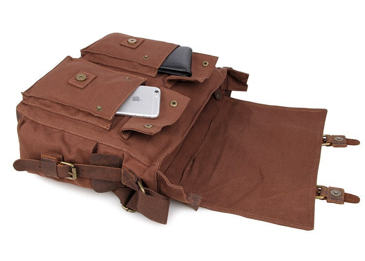'KaraKum'  Canvas and Leather Messenger Bag