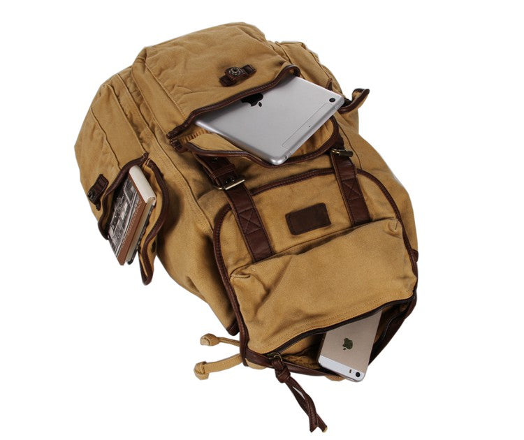Canvas and Genuine Leather Backpack - Large Capacity