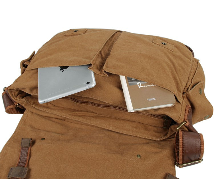 Military Style Messenger Bag - Brown