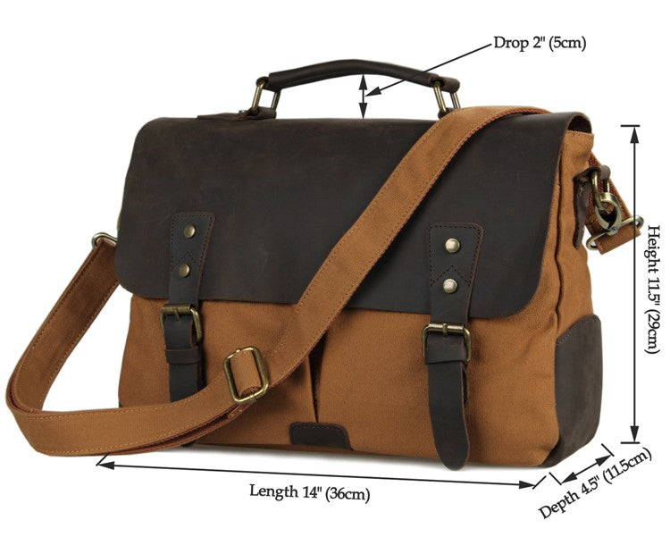 'Dublin' classic leather canvas messenger bag