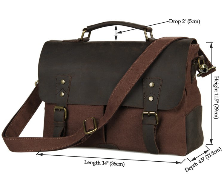 'Jerusalem' Classic Leather Canvas Messenger Bag