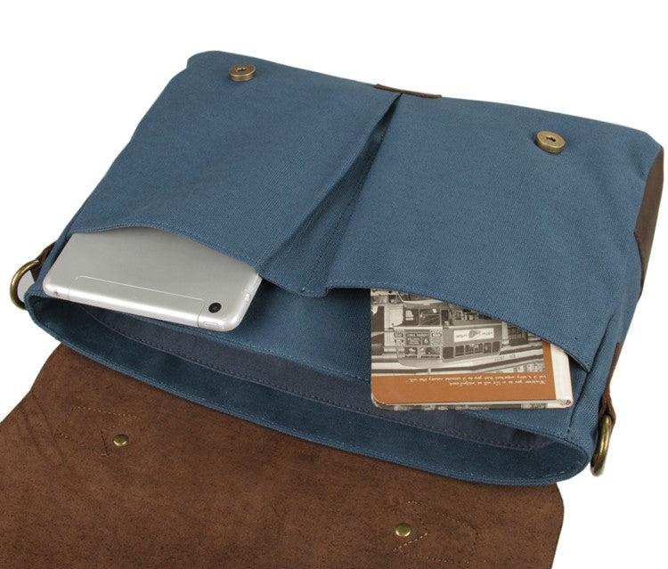 'Bridgetown' Classic Canvas and Leather Messenger Bag