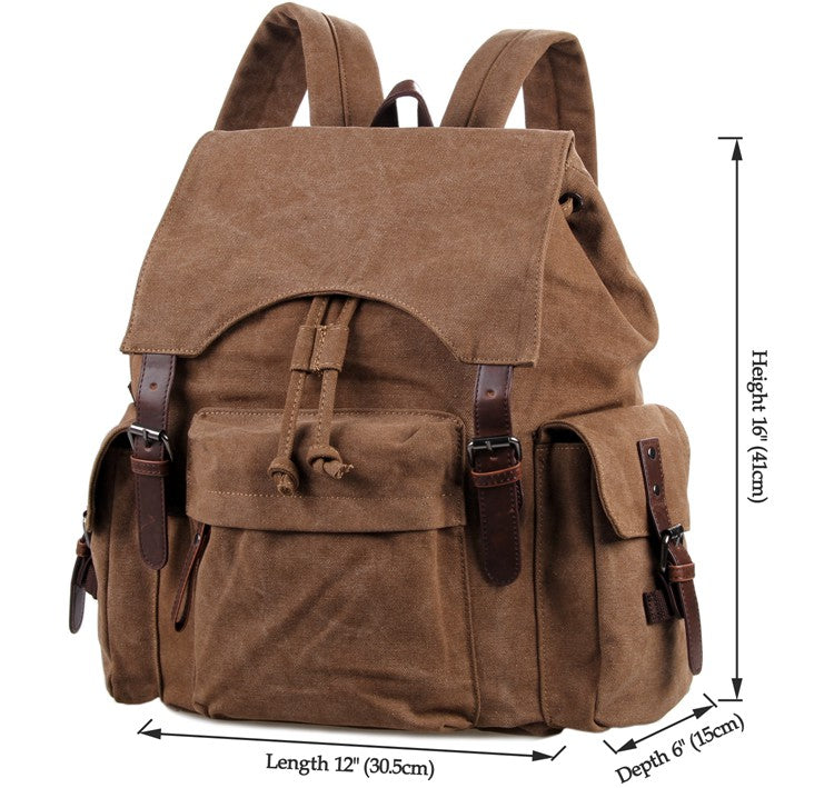 Canvas and Genuine Leather Backpack 'Petra'