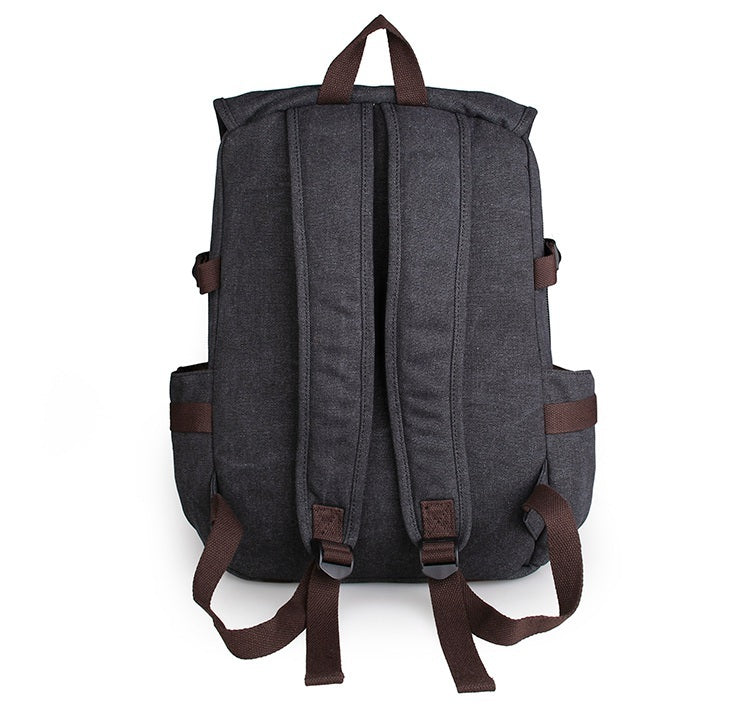 Rugged Cotton Lining Canvas Backpack - Black