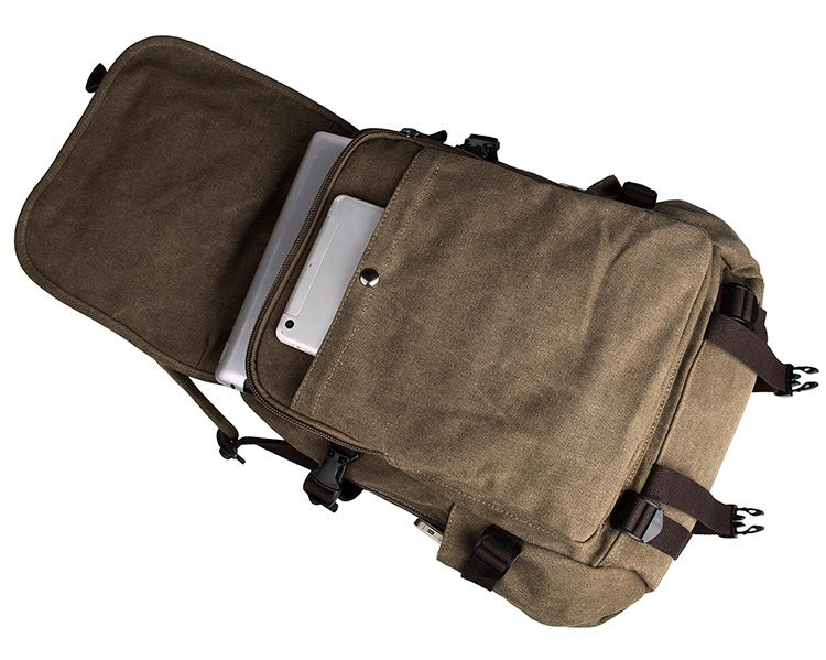 Rugged Cotton Lining Canvas Backpack - Light Brown