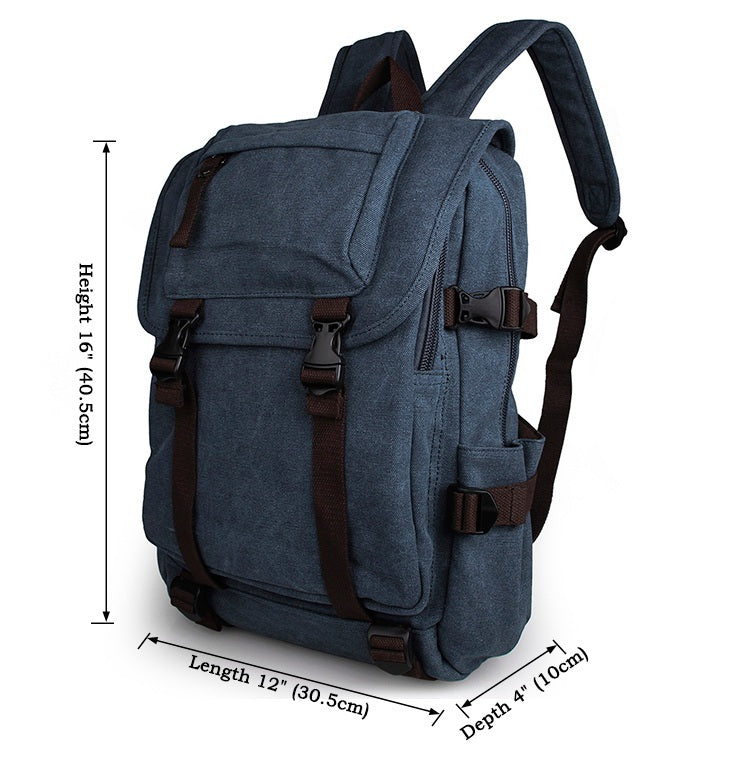 Rugged Cotton Lining Canvas Backpack - Jeans Blue