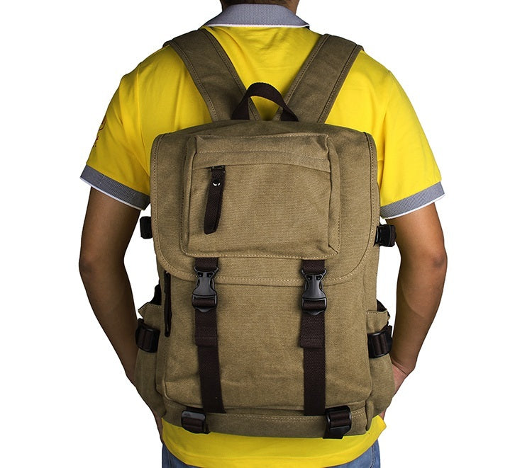 Rugged Cotton Lining Canvas Backpack - Light Army Green