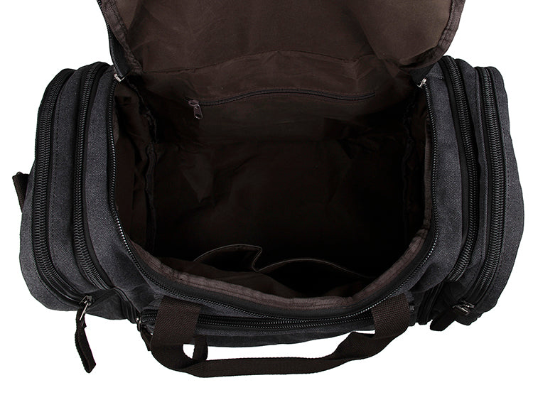 Large Weekender Canvas Duffle Bag - Black