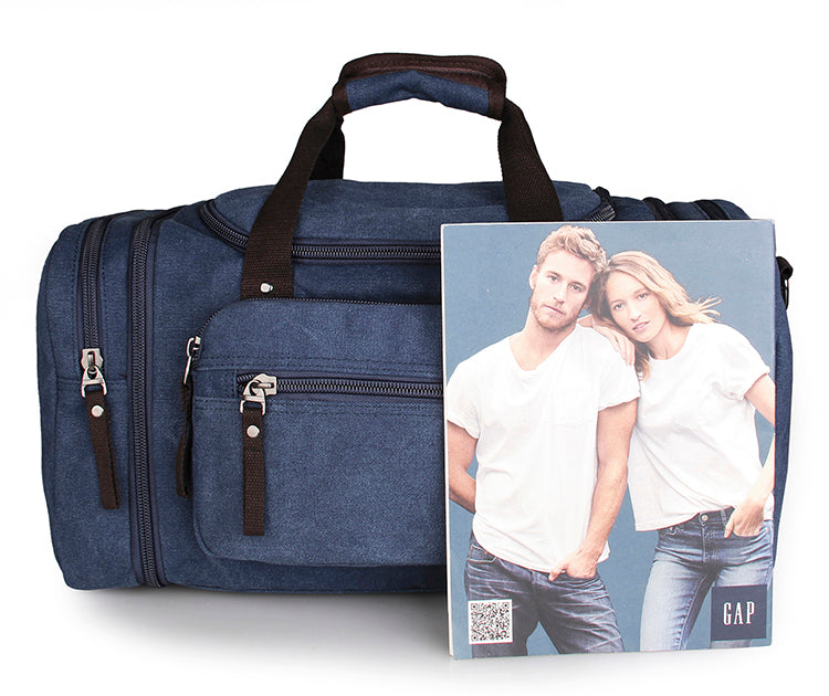 Large Weekender Canvas Duffle Bag - Blue