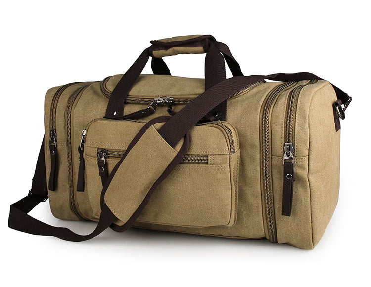 Large Weekender Canvas Duffle Bag - Army Green