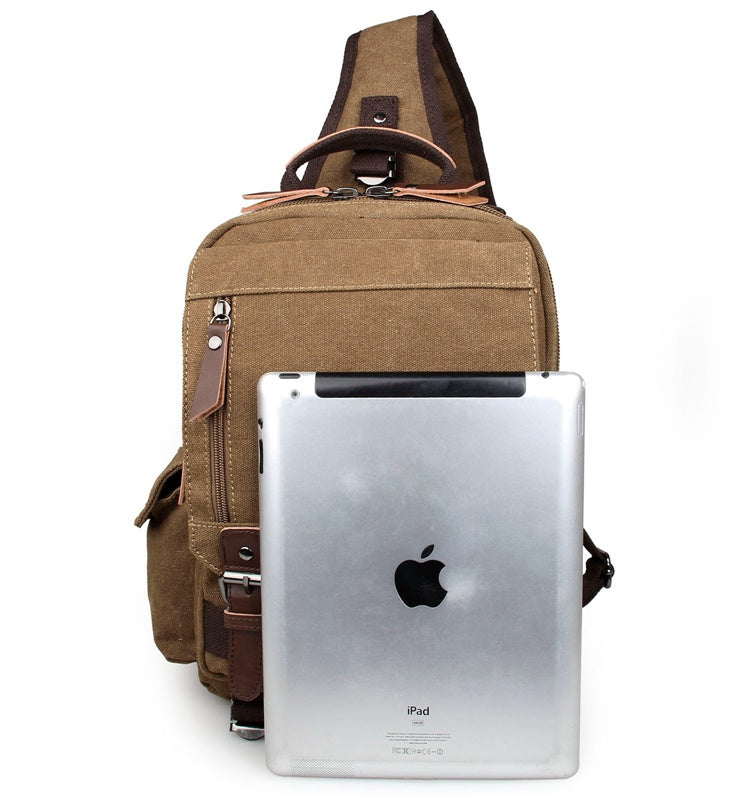 Urban Style Sling Canvas and Leather  Backpack