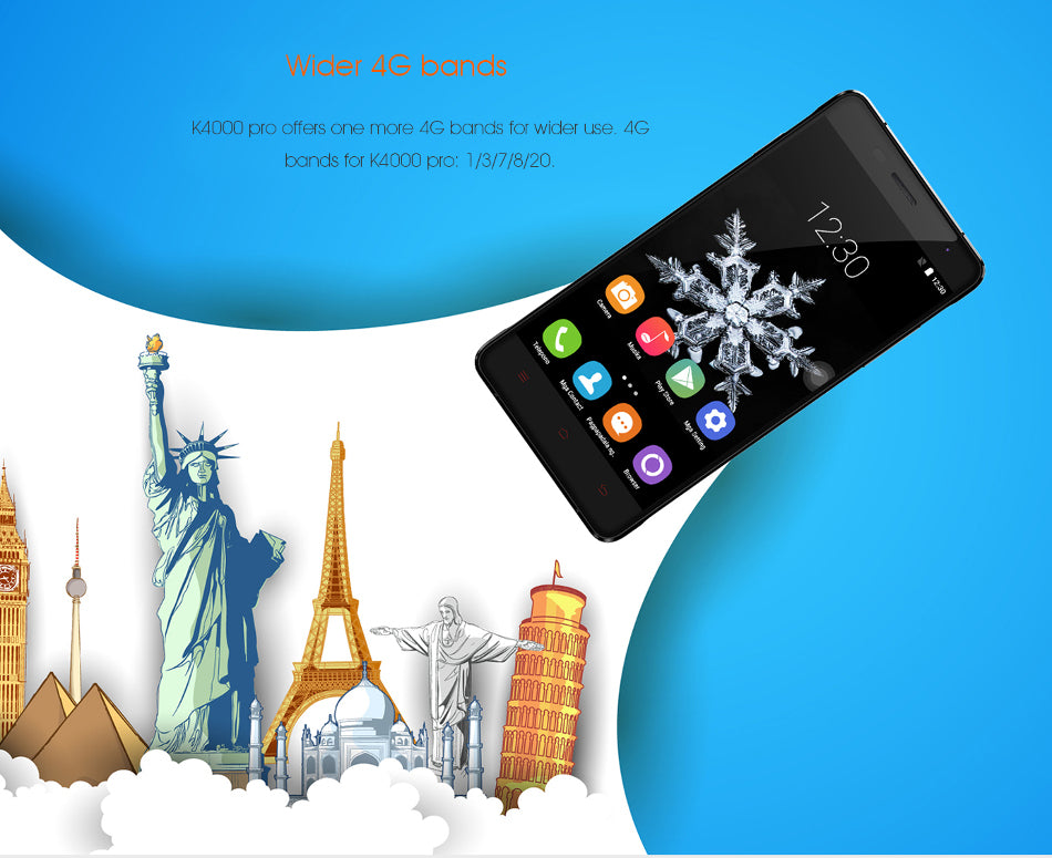 OUKITEL K4000 Smartphone - 5 inch 2.5d Screen, Tempered Glass, MTK6735p Quad Core CPU, Android 5.1, 4G