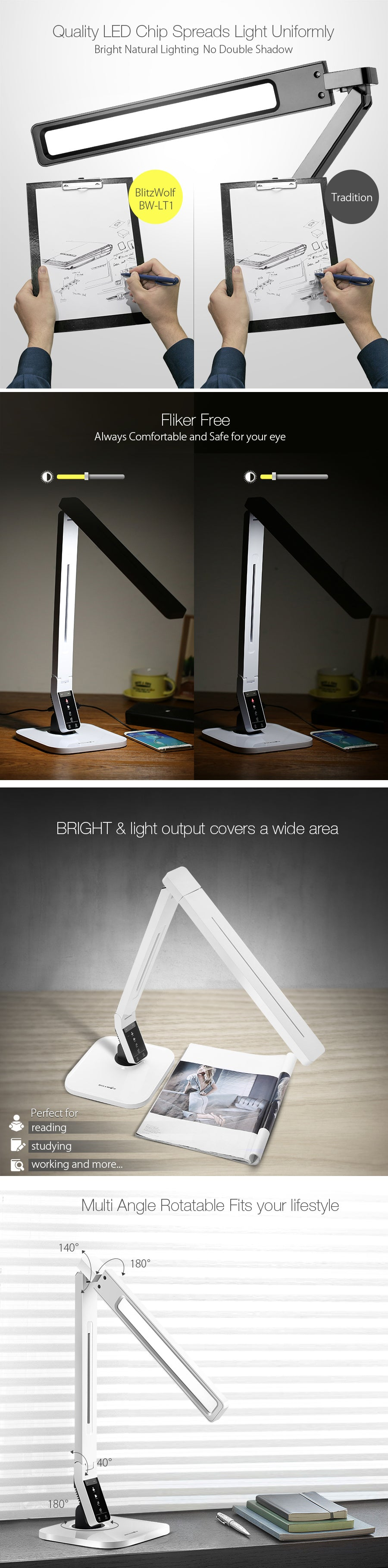 BlitzWolf® BW-LT1 Eye Protection Smart LED Dimmable Desk Lamp Light 2.1A USB Charging