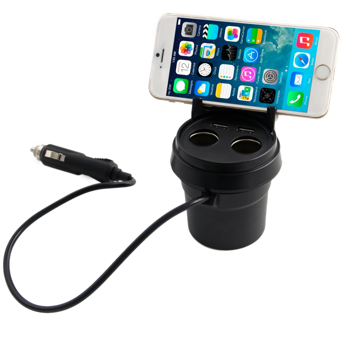 Dual USB Car Charger Adapter with 2 Socket Cigarette Lighter Adapter DC Outlet Splitter