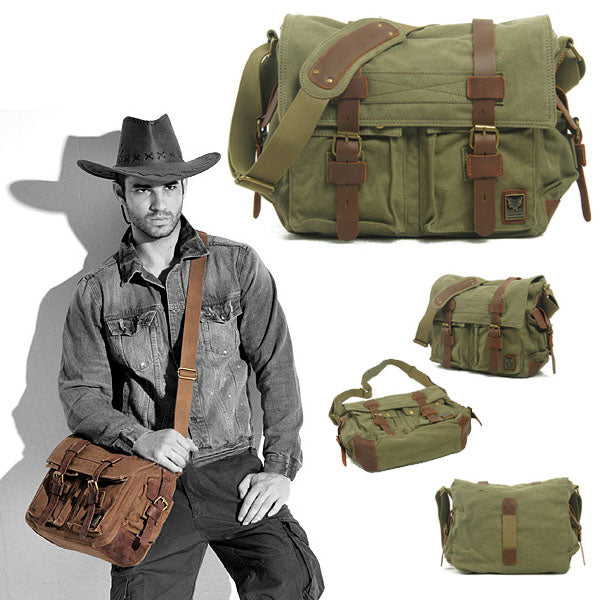 Military Style Canvas and Leather Messenger bag