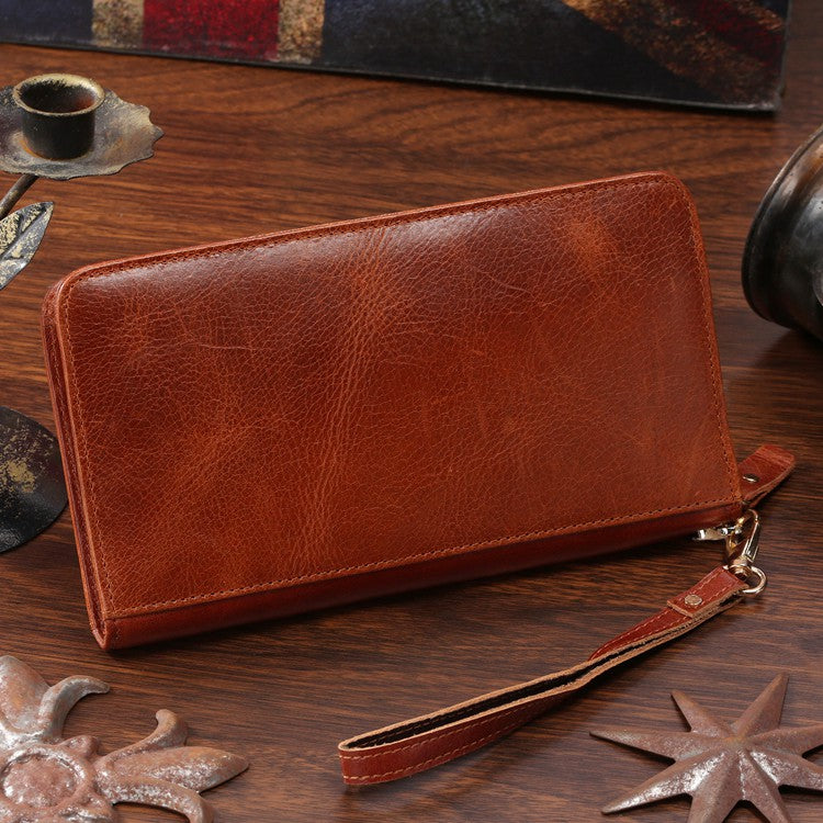 """London"" Classic Vintage Genuine Leather Clutch"
