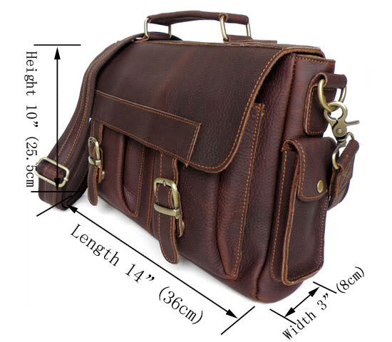 Genuine Leather Double Pocket Messenger Bag