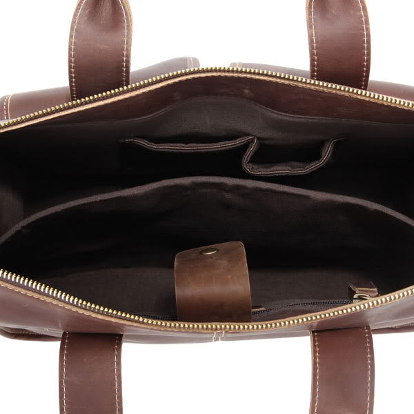 Handmade Genuine Leather Satchel - Dark Brown