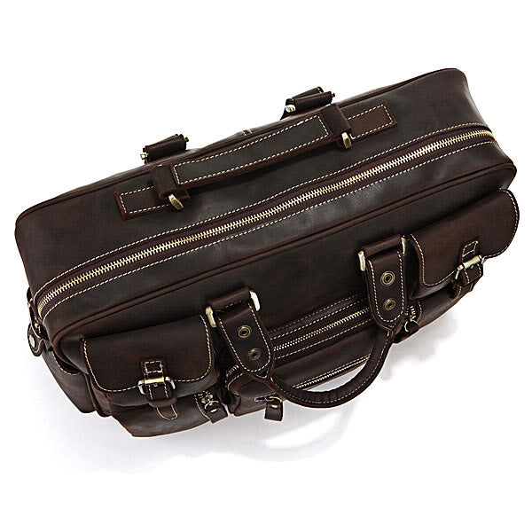 Handmade Vintage Leather Business Travel Bag Messenger Bag - Dark Brown