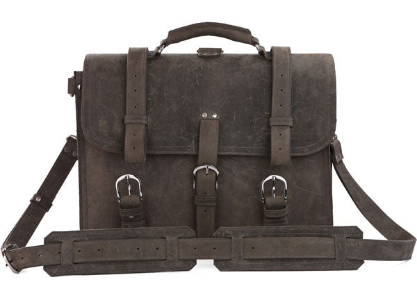 Handmade Full Grain Leather Heavy Duty Messenger Bag & Backpack - Grey