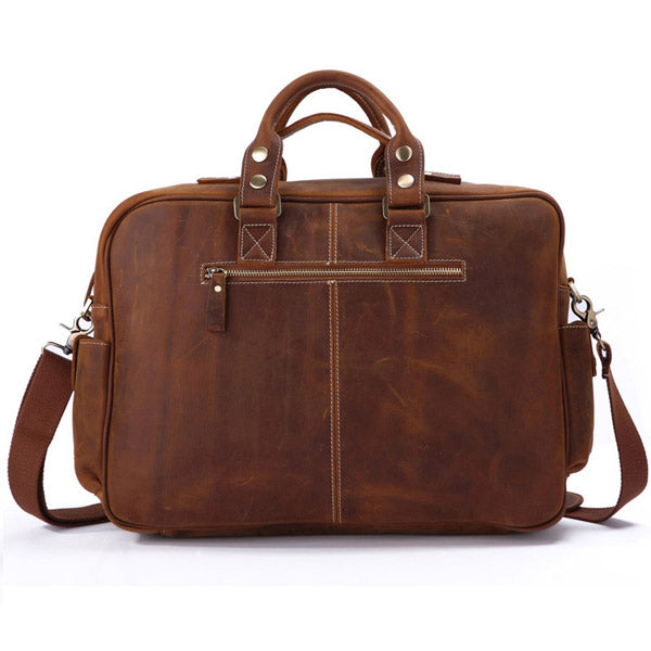 Handmade Vintage Leather Business Travel Bag Messenger Bag Duffle Bag