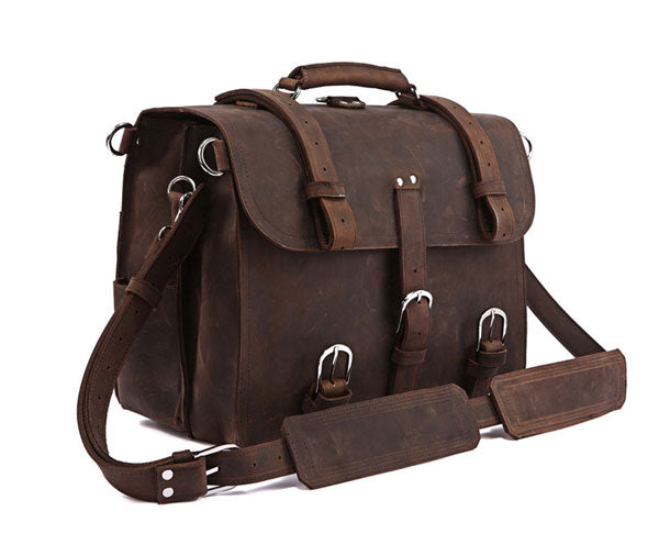 Handmade Full Grain Leather Heavy Duty Messenger Bag & Backpack - Dark Brown
