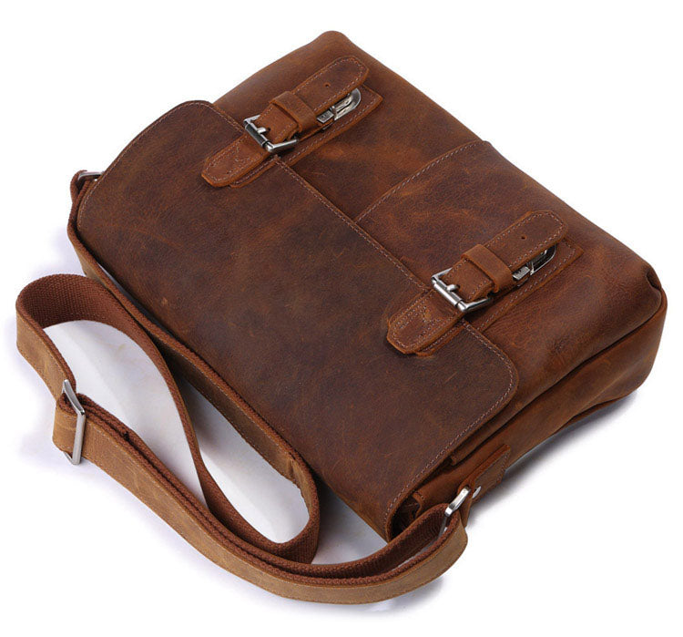 Vintage Calf Leather Brown Messenger Bag