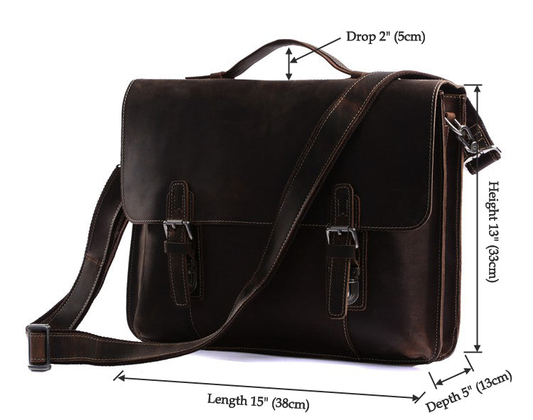 Classic Style Leather Laptop Briefcase Messenger Bag