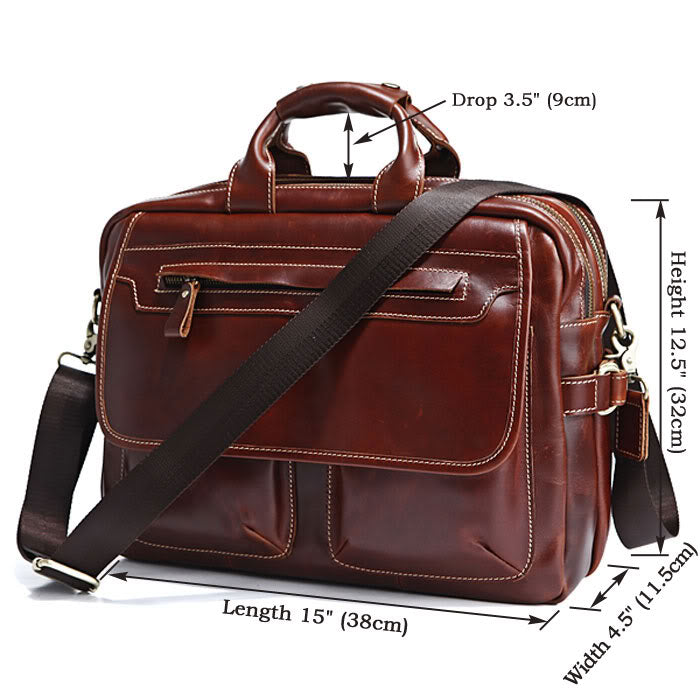 Handmade Brown Leather 15 Inch Laptop Messenger Briefcase