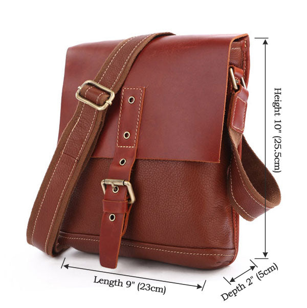 Unisex Genuine Leather Messenger Crossover Bag - Rufous