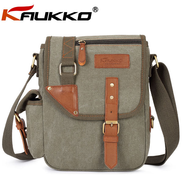 Canvas and Microfiber Leather Messenger Cross-Body iPad/Tablet Bag