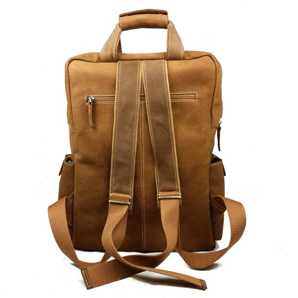 Genuine Leather Military Style Multi Pockets Backpack