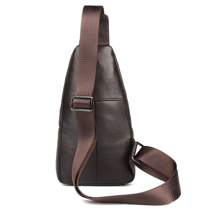Mens Explorer Handmade Luxury Leather Travel Crossbody Bag Chest Bag - Dark Brown