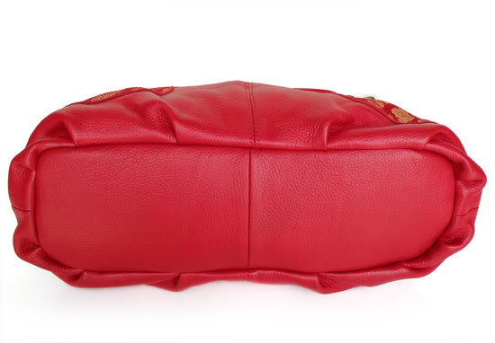 Cardinal Red Gold Leather Handbag