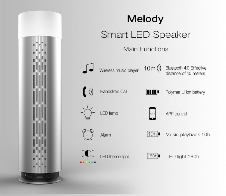 Ovevo Melody Z3 Smart Colorful LED Lamp Alarm HIFI Bluetooth Speaker With Mic