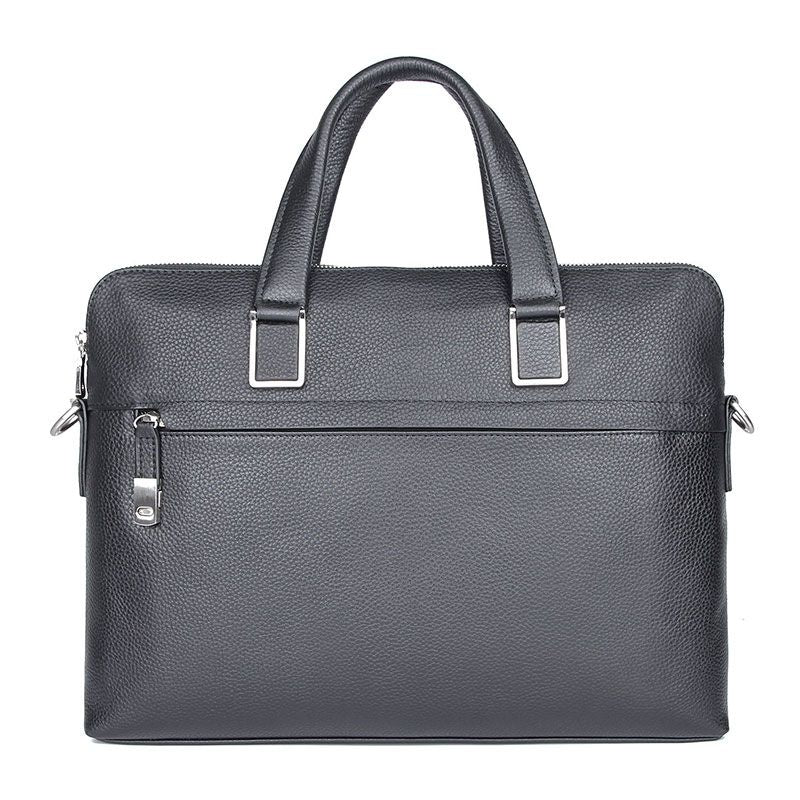 'President' Double Zip Leather Business Briefcase - Black