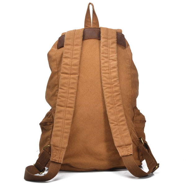 Sandhill Unisex Canvas Backpack Genuine Leather Straps